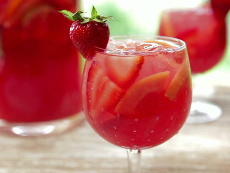 Strawberry-Pink Grapefruit Rose Sangria recipe from Bobby Flay via Food Network