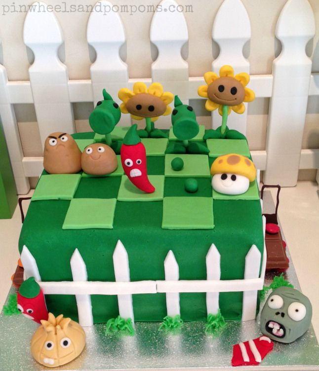 Plants vs Zombies birthday cake with fondant toppers