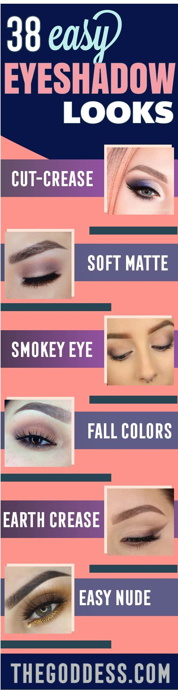 Easy Eye Shadow Looks for Beginners - Cool Eyeshadow Tutorials With Step by Step Instructions - Best Makeup Tutorial and Eye Shadow Ideas for Women and Teens - Matte, Smokey Eye, Looks for Work and Evening, School