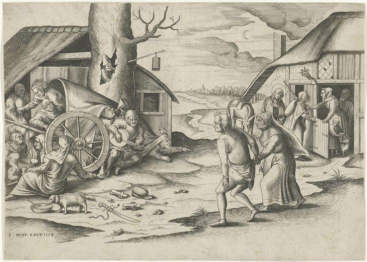 Maria en Jozef bij een herberg, Frans Huys, 1558