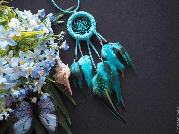 Мальта - бирюзовый крупный кулон ловец снов с перьями в стиле бохо - перья, перо