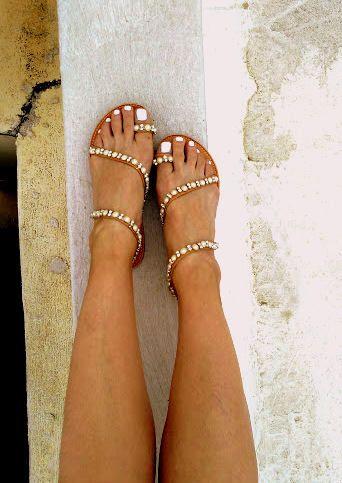 aelia greek sandals perla and strass , strappy sandals, gladietor ,wedding sandals , white pearl by aeliasandals on Etsy