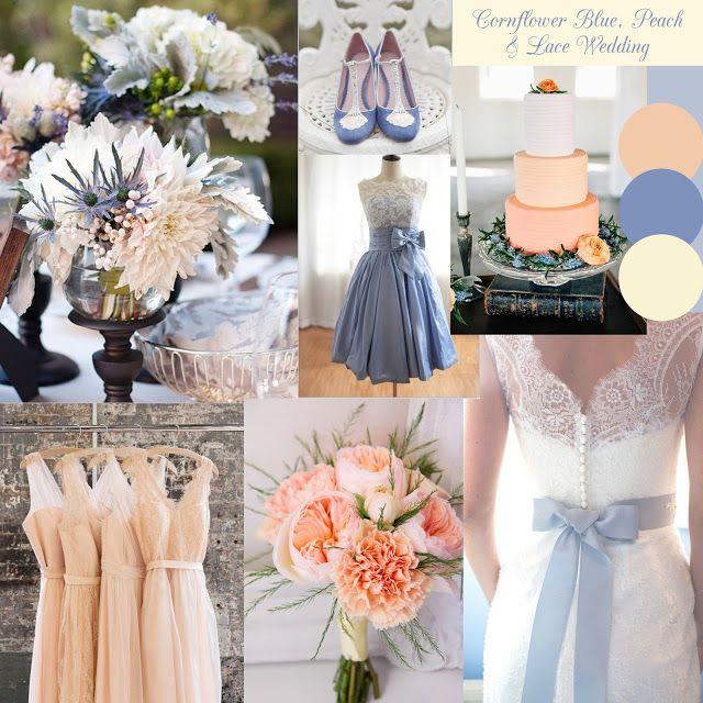 Cornflower Blue, Peach & Lace Wedding Inspiration Moodboard by Knots & Kisses http://knotsandkisses.co.uk