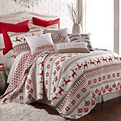 Silent Night Full/Queen Quilt Set, Red/Grey/White, Cotton Christmas Holiday