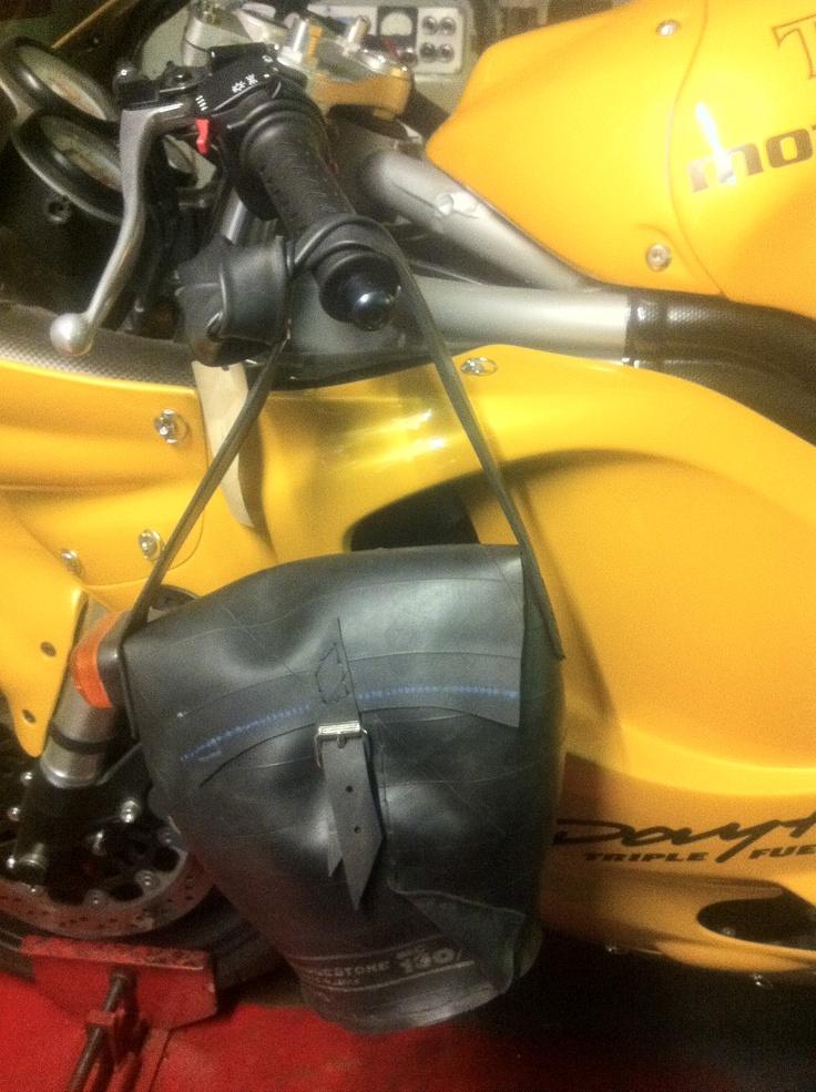 Awesome purse made of motorbike tubes.
