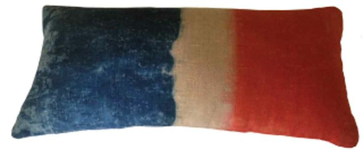 GOLDEN MONKEY LINEN 60CM X 30CM HAND DIPPED 'VINTAGE' FRENCH FLAG CUSHION
