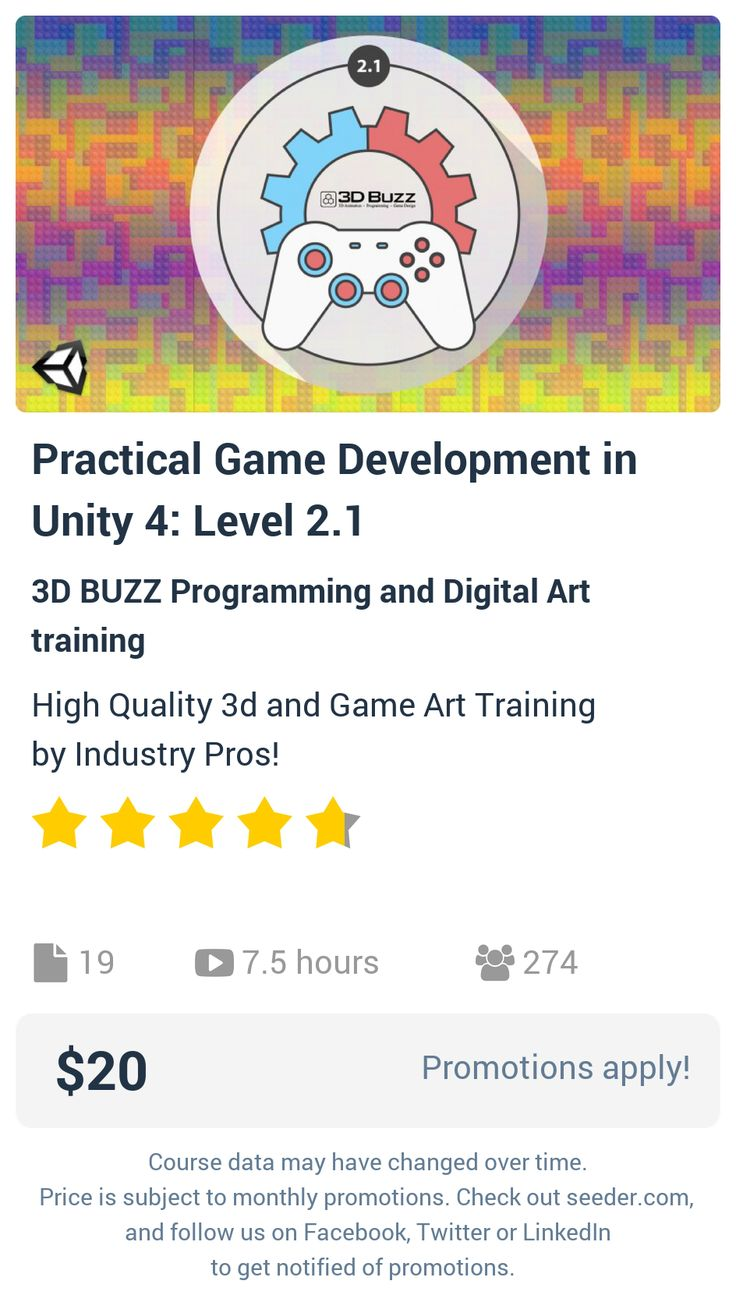 Practical Game Development in Unity 4: Level 2.1 | Seeder offers perhaps the most dense collection of high quality online courses on the Internet. Over 13,800 courses, monthly discounts up to 92% off, and every course comes with a 30-day money back guarantee.