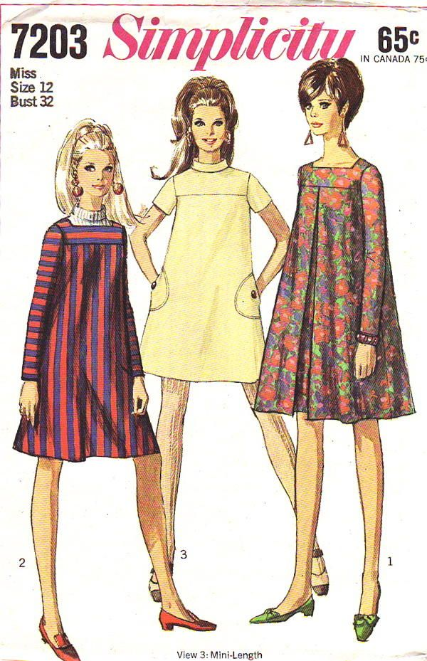 "Simplicity Pattern 7203 Vintage Hip Mod Little Mini Tent Dress dated 1967. This includes; Misses' Dress in Two Lengths: The ""tent"" dress with yoke has set-in sleeves and back zipper. Regular-length V. 1&2 have lowered square neckline and long sleeves. V. 1 has inverted center front pleat. Above knee-length V. 3 has short sleeves, bias roll collar and top-stitched button trimmed pockets. [insert your photos of this pattern made up]"