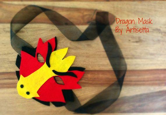 Fairytale Fantasy Felt  Dragon Mask   Imaginative by Artisetta