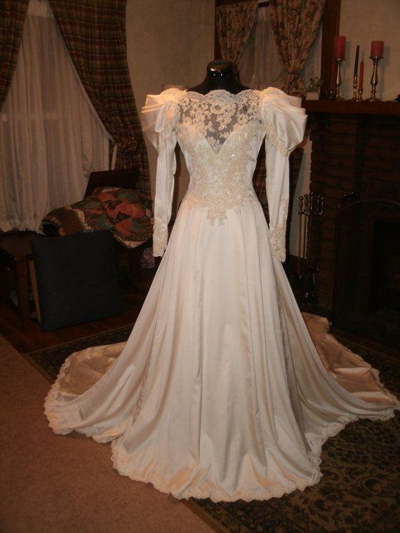 Custom Made Ivory soft angelskin satin Victorian Edwardian inspired 1970 built Wedding dress Gown size 0 2 4 6 8 on Etsy, $675.00