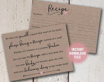 Bridal Shower Invitation Bridal Shower Recipe by ...