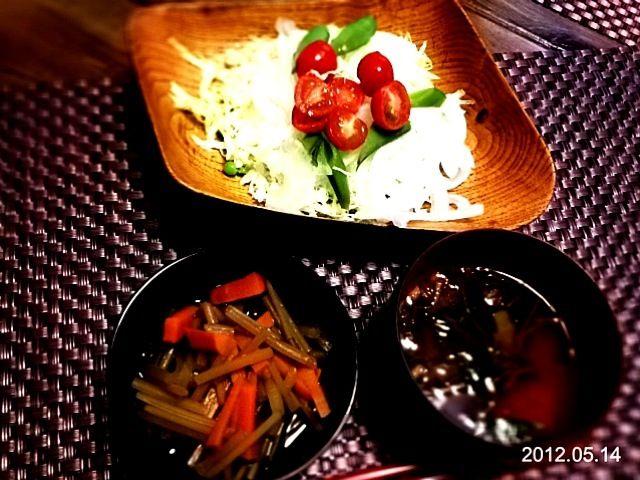 具沢山味噌汁、サラダ - 3件のもぐもぐ - ふきの煮物 by coppechan