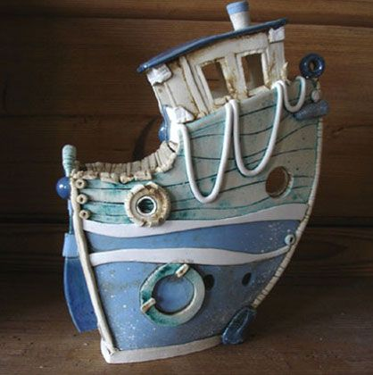 Ceramics by Sarah Vernon at Studiopottery.co.uk - Fishing trawler, height 32cms, £200.