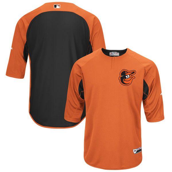Men's Baltimore Orioles Majestic Orange/Black Authentic Collection On-Field 3/4-Sleeve Batting Practice Jersey | MLBShop.com
