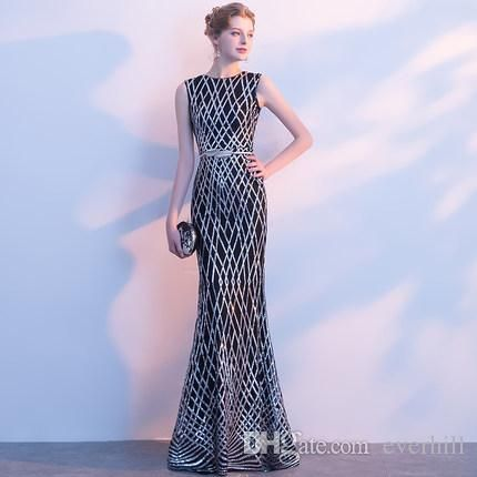 Arabic Black Silver Sequin Evening Dresses Long Mermaid 2018 Shiny Dubai Sleeveless Formal Gala Party Gowns For Prom Evening With Belt Abiye