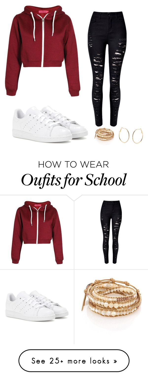 """Sporty school outfit"" by ultimatealy on Polyvore featuring WithChic, adidas, Accessorize and Chan Luu"