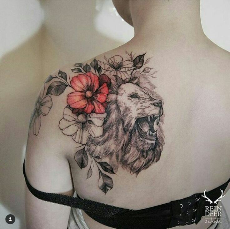 Lion floral over the shoulder pop of color