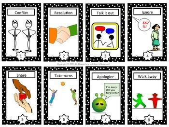 Conflict Resolution Cards and Word Wall - This is a set of 16 conflict resolution trading cards that you can use with your students when teaching conflict resolution, problem solving, or bullying.
