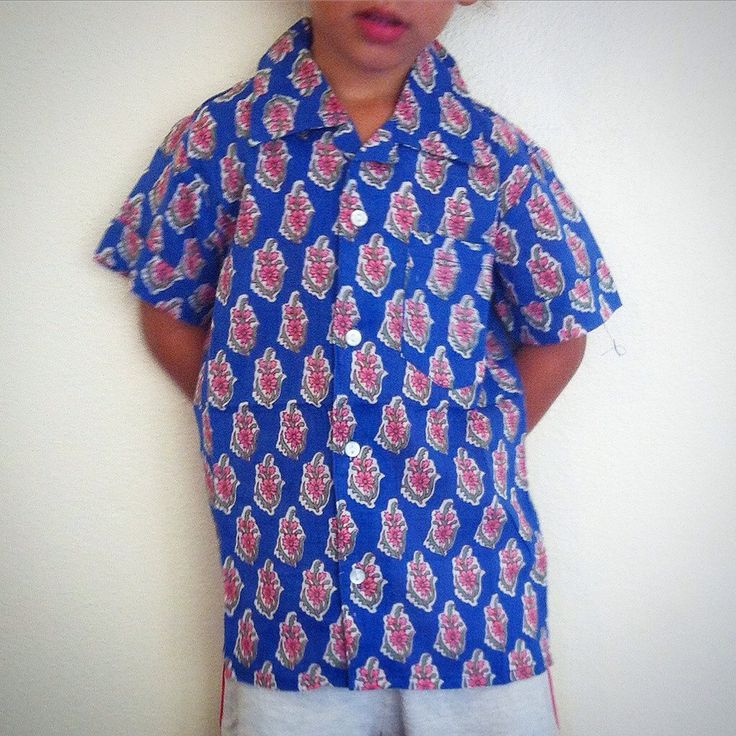 100% Cotton Indian Block Print Boy's Shirt / Baby Shower-Birthday Gift - Blue+Pink Floral