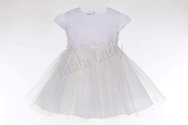 SukienkaMoniato połączenie satyny ślubnej z tiulem w kropki. Delikatne kwiatuszkina atłasowym pasku, którydzięki możliwości wiązania z tyłu umożliwia dopasowanie sukienki do ciała.Sukienka doszyta jest płótnem bawełnianym oraz podszewką. Kreacja posiada kryty zamek oraz rękawki typu motylek.  SukienkaMoniadostępna jest również w kolorzebiałym.