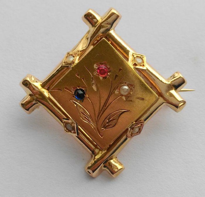 Online veilinghuis Catawiki: 18 kt geelgouden broche - Kleine stenen (robijn, saffier en parel) - Bloem motief