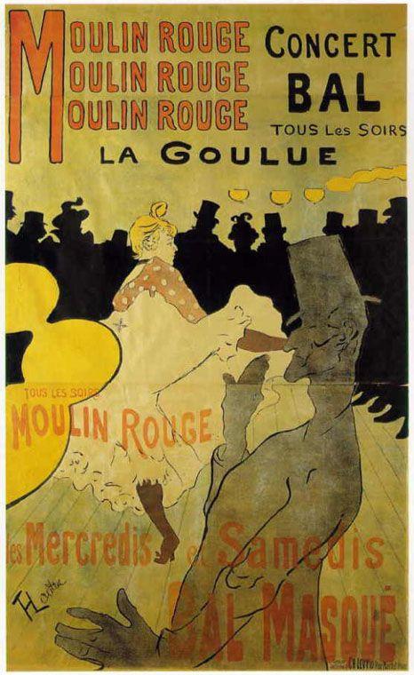 19世紀末を代表する芸術家、ロートレックのキャバレー「ムーラン・ルージュのラ・グリュ」ポスター