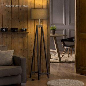 Lampadaire chevalet en bois avec abat jour ovale en coton gris hauteur 156cm Vinci