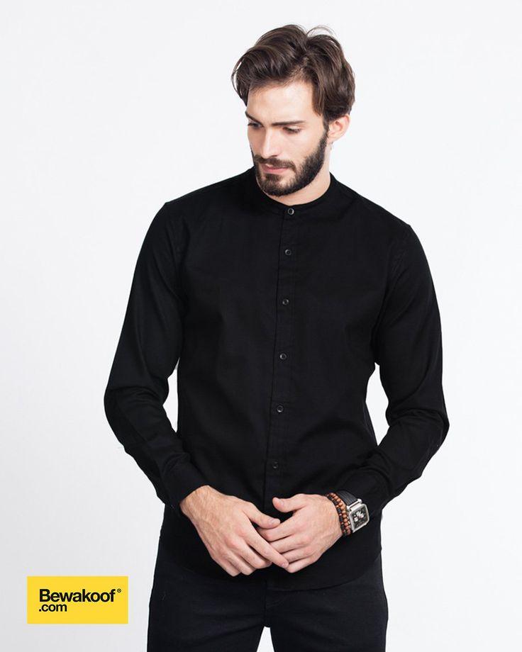 Bewakoof - Classic Black Mandarin Collar shirt INR 995 at Bewakoof.com