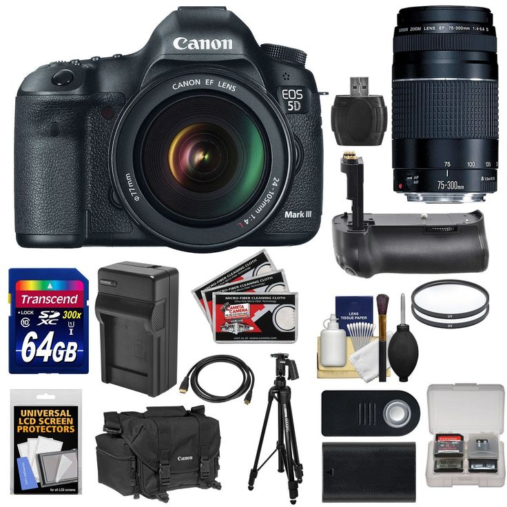 "Canon EOS 5D Mark III Digital SLR Camera with EF 24-105mm L IS & 75-300mm III Lens + 64GB Card + Grip + Battery & Charger + Case + Tripod + Kit. KIT INCLUDES 19 PRODUCTS -- All BRAND NEW Items with all Manufacturer-supplied Accessories + Full USA Warranties:. [1] Canon EOS 5D Mark III Digital SLR Camera with EF 24-105mm L IS USM Lens + [2] Canon EF 75-300mm III Lens + [3] Canon 2400 DSLR Camera Case + [4] Sunpak 61"" 6000PG Tripod +. [5] Microfiber Cleaning Cloth + [6] Additional…"