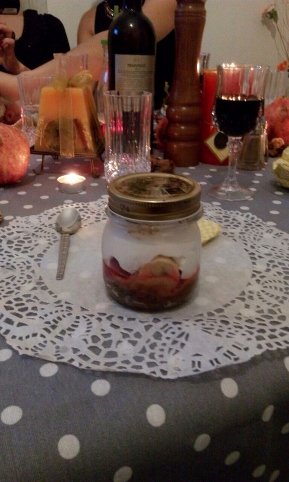 Banoffe jar with raspbery