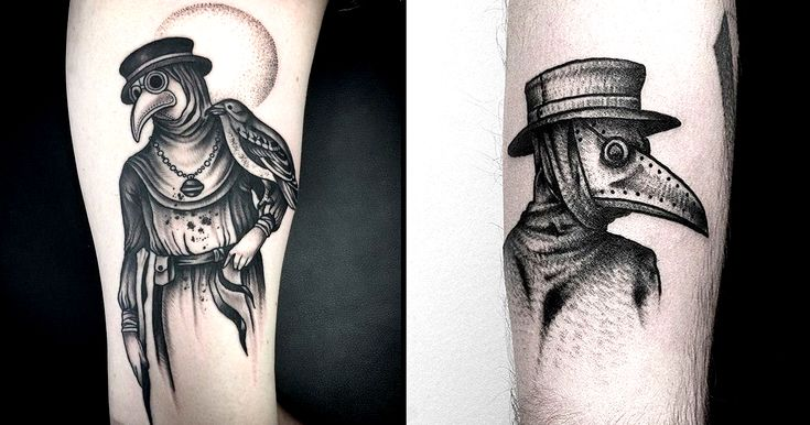 A dark style suits a dark subject, especially with plague doctor tattoos!