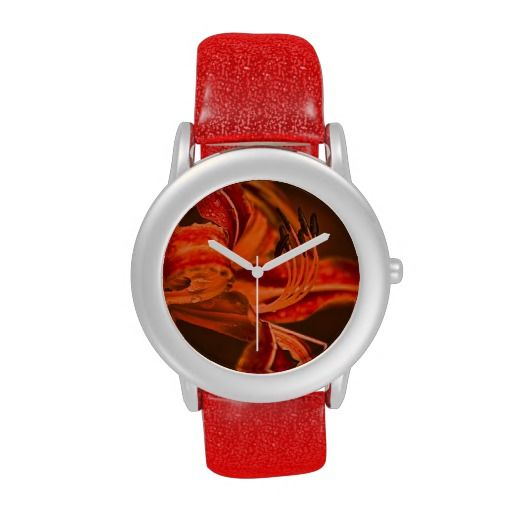 Orange Flower Wrist Watches