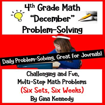 "Six sets (five in each set) of standards based 4th Grade math multi-step weekly problems. Great for no-prep ""daily"" multi-step problem solving or for use anytime as an entire set. Excellent for math journals. The problems include basic operations, decimals, fractions, measurement units and conversions, geometry and more!"