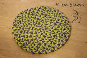 Hjemmelavet flættet tæppe, 60 cm diameter