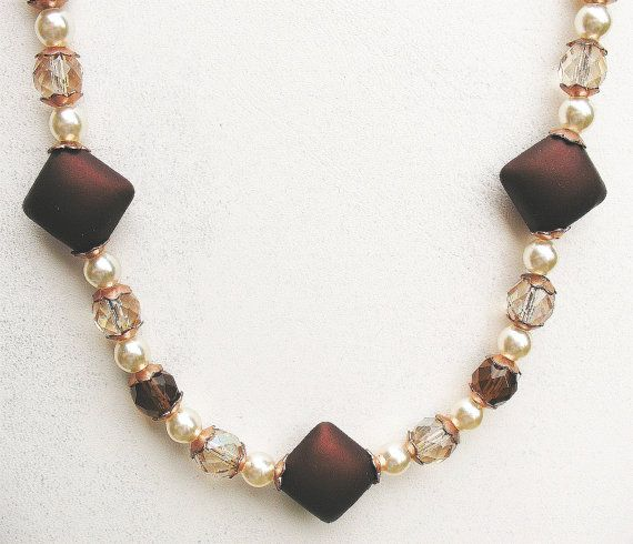Fun Brown Necklace with a bit of Sparkle  by SkyeDancerJewelry, $18.00