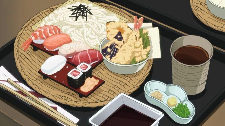 Riso e sushi assortito di vari tipi con salsa wasabi