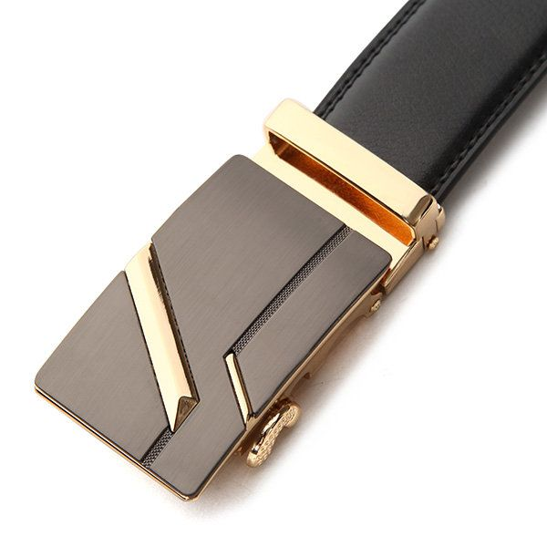 120CM Men Second Floor Cowhide Frosted Gold Silver Alloy Automatic Buckle Belt at Banggood  men fashion accessories