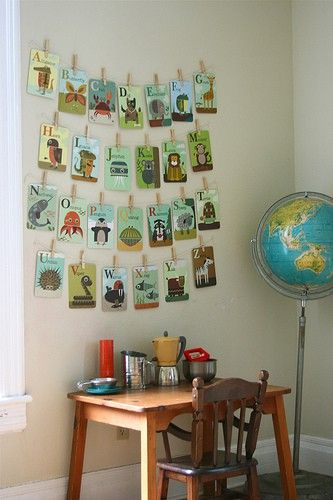 Alphabet cards hung from a clothes line like structure. Here's an idea for the writing centre when rearranging the room - in the even that there isn't a wall or bullentin board backing the table.