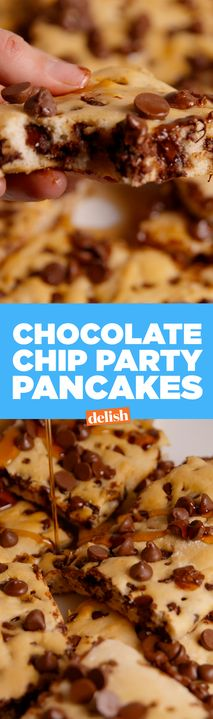 Chocolate Chip Party Pancakes are the easy secret to making pancakes for a crowd. Get the recipe from Delish.com.