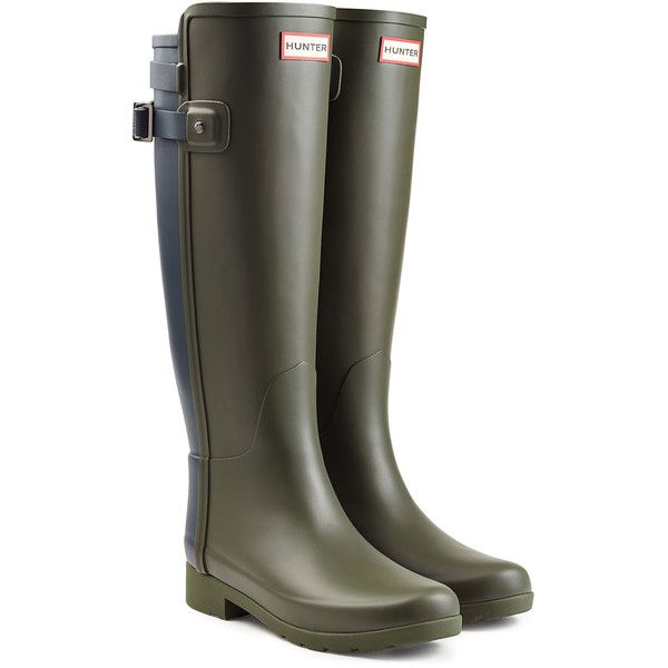 Hunter Tall Refined Back Strap Rubber Wellingtons ($110) ❤ liked on Polyvore featuring shoes, green, wellies shoes, green rubber boots, tall rubber boots, rubber shoes and green shoes