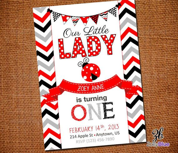 Little Lady Printable Ladybug Birthday Invitation (Red Grey Chevron Girl 1st First Birthday) - Digital File on Etsy, $6.99