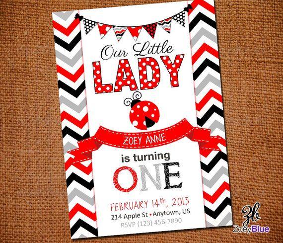 Little Lady Printable Ladybug Birthday Invitation (Red Grey Chevron Girl 1st First Birthday) - Digital File on Etsy, $6.99
