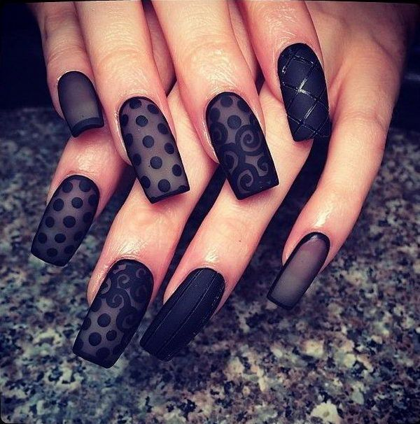 Black Lace Nail Art Design