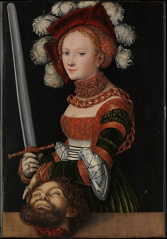 Lucas Cranach the Elder (German, 1472–1553). Judith with the Head of Holofernes, ca. 1530. The Metropolitan Museum of Art, New York. Rogers Fund, 1911 (11.15) | In this panel Judith presents the severed head of Holofernes, the Assyrian general directing the siege of her city, having killed him with his own sword. #sword