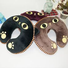 Funny animal shape U shape travel pillow plush cat neck pillow