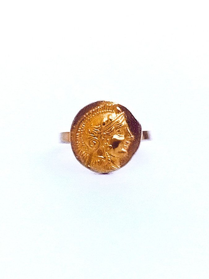 Greek Goddess Gold Ring , Greek Mythology , Double Sided Coin Ring , Goddess Athena Ring , Gold Tone Ring, Greek Jewelry, Ancient Greek Ring by profoundgarden on Etsy