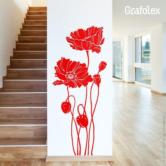 Vintage Wandtattoo Mohnblumen Blume Mohn Floral Wandsticker Wandaufkleber Wand Deko Aufkleber Sticker Wohnzimmer Esszimmer w