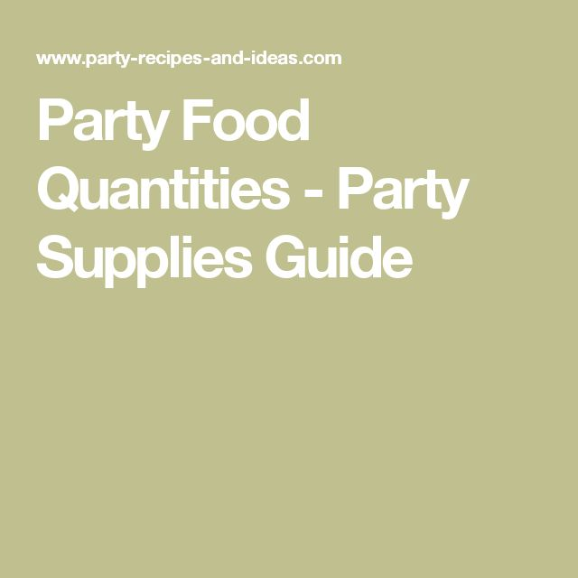 Party Food Quantities - Party Supplies Guide