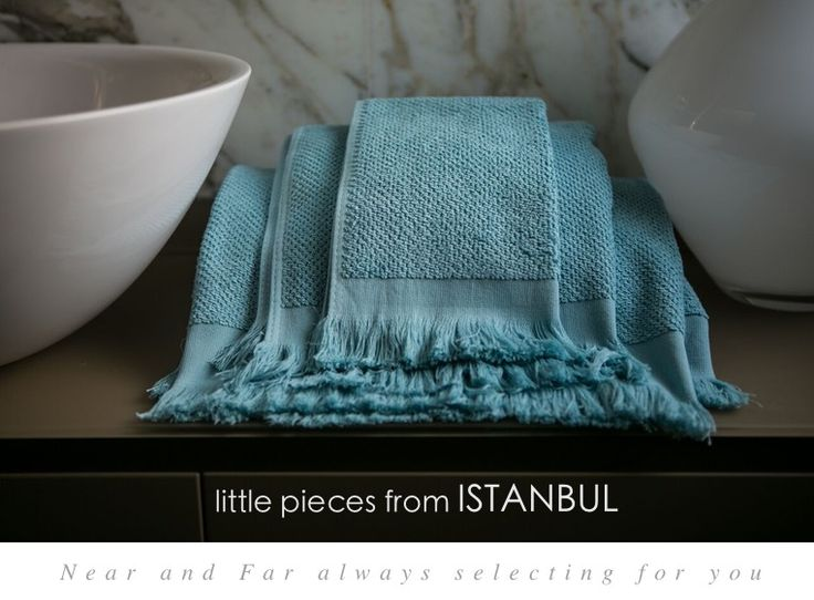 Add an exotic detail to your elegant #home. Soft and fast drying, for your bath #linen collection. From #Istanbul. http://near-and-far.com/en/home/284-simple-life-turquoise-waffle-towel-set-with-fringes.html #furnishing #bath #lightblue
