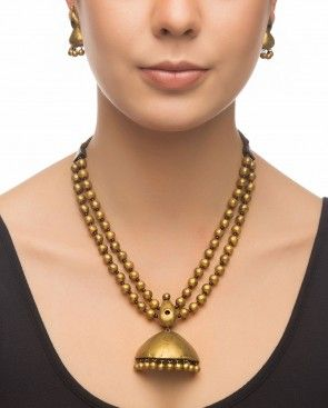 Necklace Set with Dome Shaped Pendant Drop